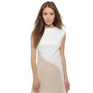 Women's Natural Lace Up Dress With Suede Panel